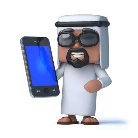 sheik: 3d render of an Arab holding a smartphone
