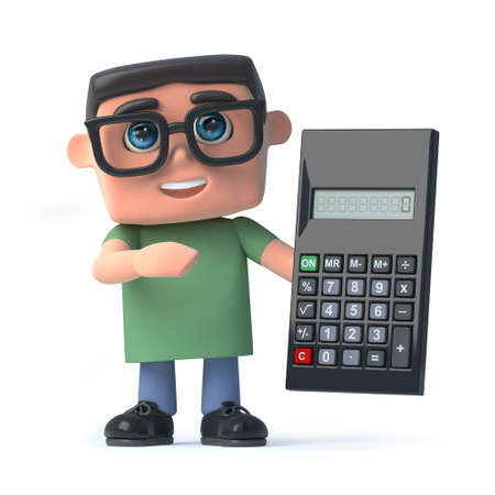 scholar: 3d render of a boy wearing glasses holding a calculator Stock Photo