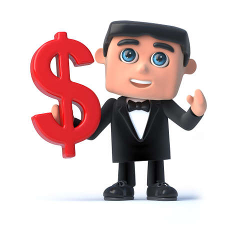 debonair: 3d render of a man wearing a tuxedo and bow tie and holding a US Dollar currency symbol