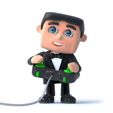 debonair: 3d render of a man wearing a tuxdeo and bow tie and playing a videogame Stock Photo