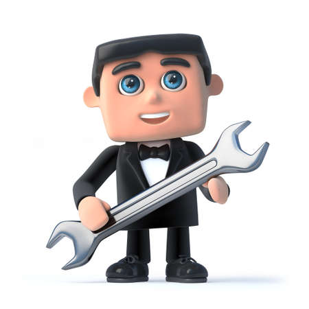 debonair: 3d render of a man wearing a tuxedo and bow tie and holding a spanner