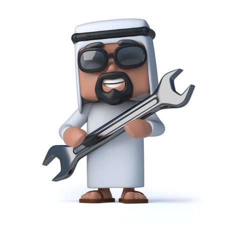 sheik: 3d render of an Arab holding a spanner