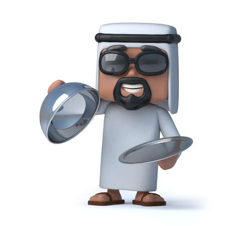 sheik: 3d render of an Arab holding a silver service tray Stock Photo