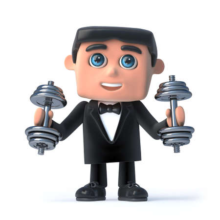 debonair: 3d render of a man wearing a bow tie and tuxedo and lifting dumbell weights.