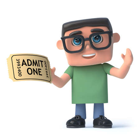 admission: 3d render of a boy wearing spectacles holding an admission ticket