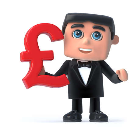 debonair: 3d render of a man wearing a bow tie and tuxedo and holding a UK Pounds Sterling currency symbol