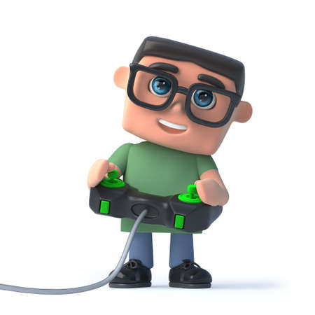 videogame: 3d render of a boy wearing glasses playing a videogame Stock Photo