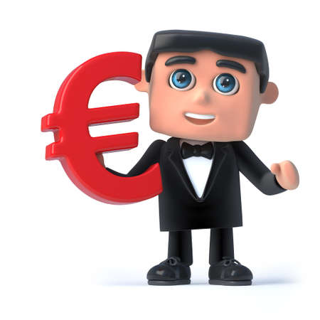 debonair: 3d render of a man wearing a bow tie and tuxedo and holding a Euro currency symbol Stock Photo