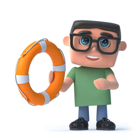 life saver: 3d render of a boy wearing glasses holding a life buoy. Stock Photo