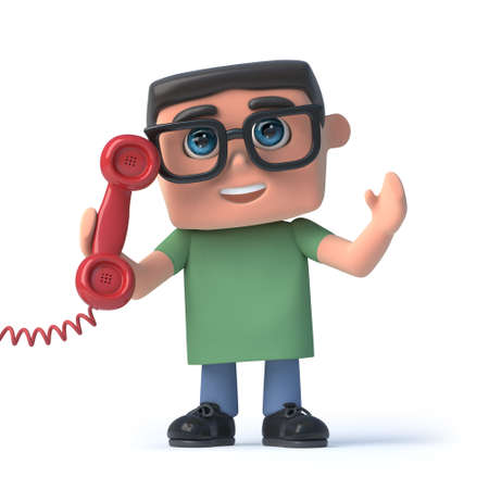 scholar: 3d render of a boy wearing spectacles and holding a red telephone handset Stock Photo