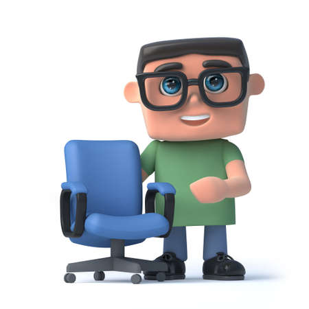 wearing spectacles: 3d render of a boy wearing spectacles standing next to an empty office chair.