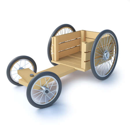kart: 3d render of a home made wooden soapbox go cart racer