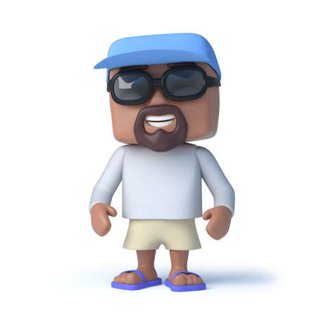 casually: 3d render of a man dressed casually to go sailing.