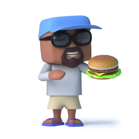 beef burger: 3d render of a man dressed to go sailing holding a beef burger.