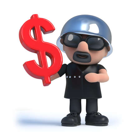 outlaw: 3d render of an old biker holding a US Dollar currency symbol. Stock Photo