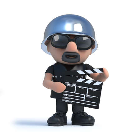 leather coat: 3d render of an old biker holding a movie making clapperboard.