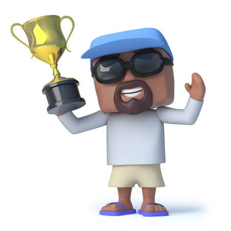gold cup: 3d render of an older man dressed to go sailing holding a gold cup trophy. Stock Photo