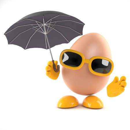 wholesome: 3d render of an egg under an umbrella.