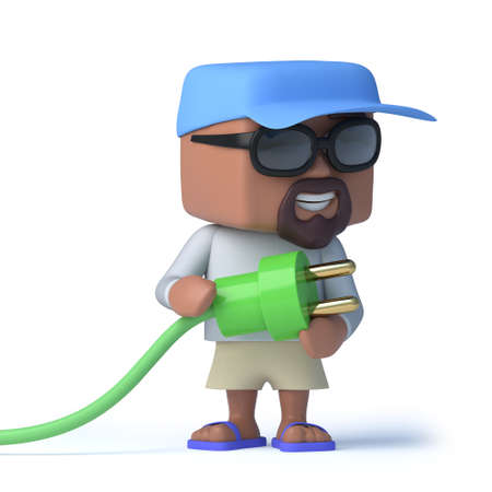 plug hat: 3d render of a sailor dude holding a green power lead and plug