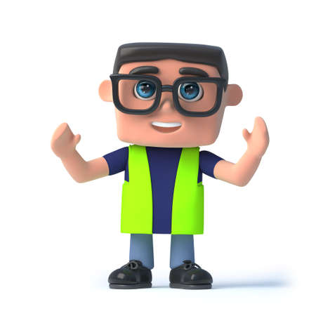 safety officer: 3d render of a health and safety officer with his arms in the air.