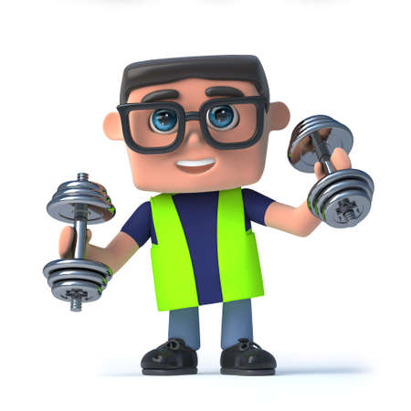 safety officer: 3d render of a health and safety officer exercising with weights.