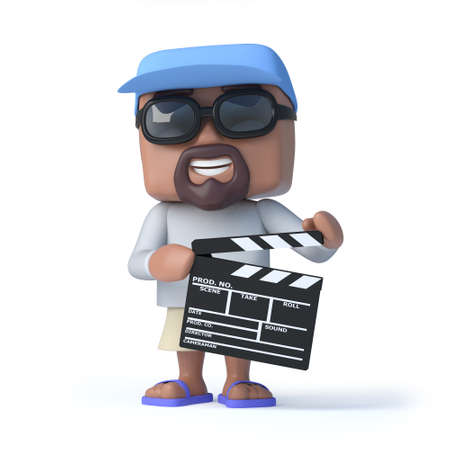 retired: 3d render of a sailor man holding a clapperboard