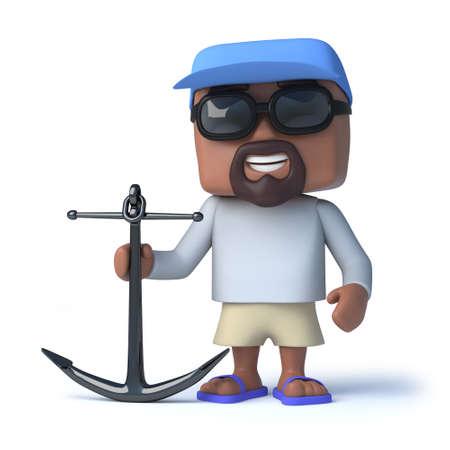 anchor man: 3d render of a sailor man holding an anchor.