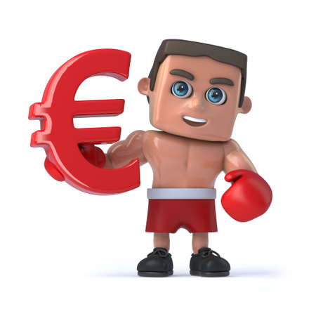 currency symbol: 3d render of a boxer holding a red Euro currency symbol.