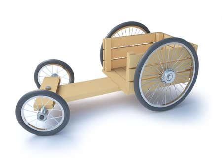 kart: 3d render of an old wooden go kart