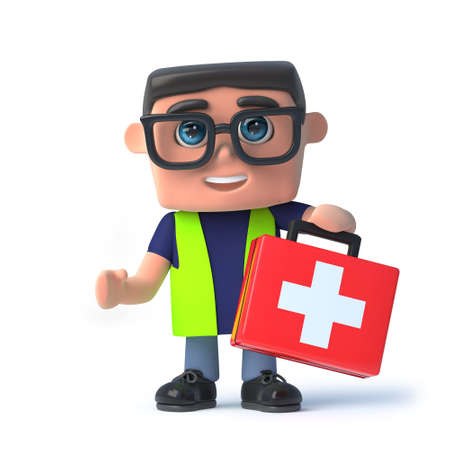 safety officer: 3d render of a health and safety officer holding a first aid kit.