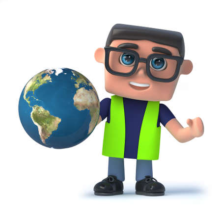 safety officer: 3d render of a health and safety officer holding a globe of the Earth.