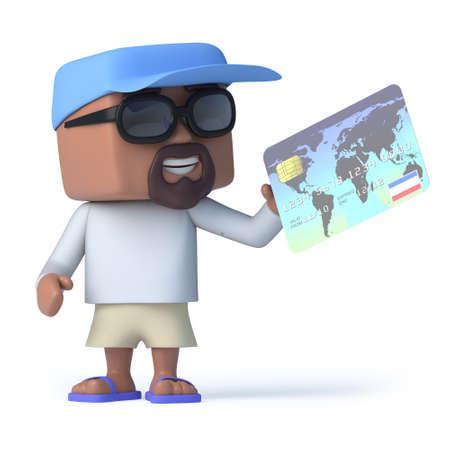 man holding card: 3d render of a sailor man holding a debit card. Stock Photo