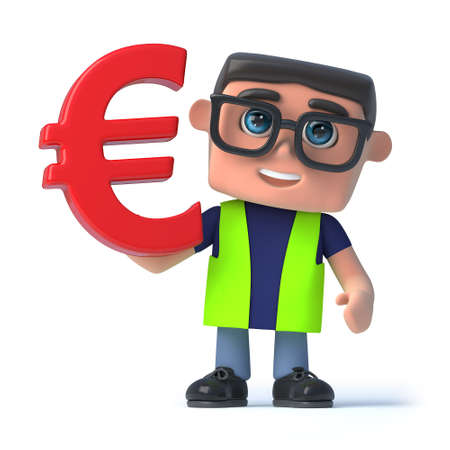 safety officer: 3d render of a health and safety officer holding a Euro currency symbol. Stock Photo