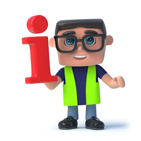 safety officer: 3d render of a health and safety officer holding an information symbol. Stock Photo