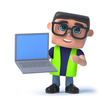 safety officer: 3d render of a health and safety officer holding a laptop.