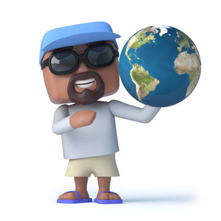 global retirement: 3d render of a sailor man holding a globe of the Earth Stock Photo