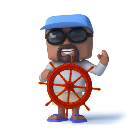 dude: 3d render of a sailor dude steering his yacht with a ships wheel. Stock Photo