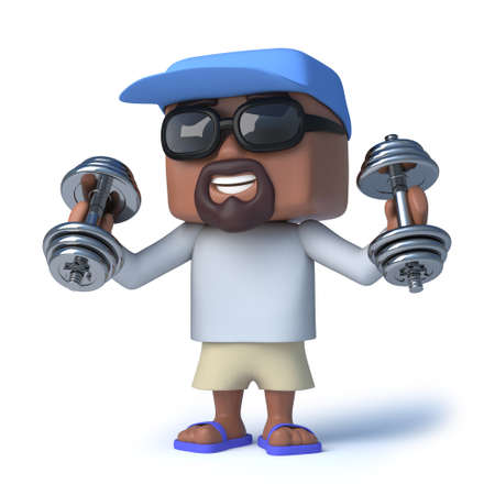 man lifting weights: 3d render of a sailor man lifting some dumbell weights.
