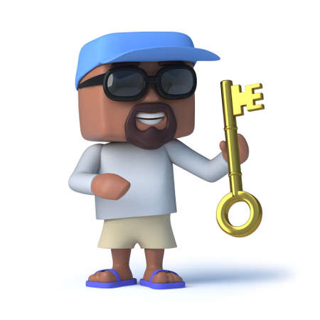 dude: 3d render of a sailor dude holding a gold key.