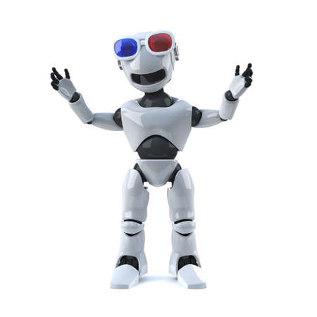 automaton: 3d render of a robot wearing a pair of 3d glasses. Stock Photo