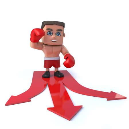 defend: 3d render of a boxer standing on red directional arrows