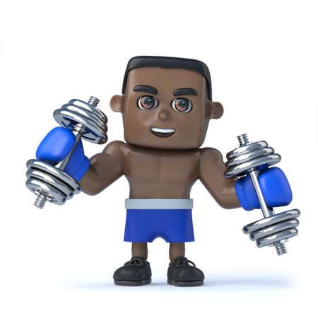 dumbell: 3d render of a black boxer exercising with dumbell weights.