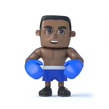 spar: 3d render of a relaxed black boxer.