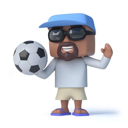 dude: 3d render of a sailor dude holding a soccer ball.