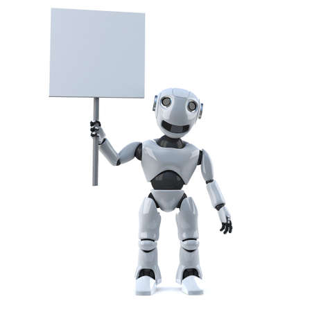 placard: 3d render of a robot holding a blank placard.