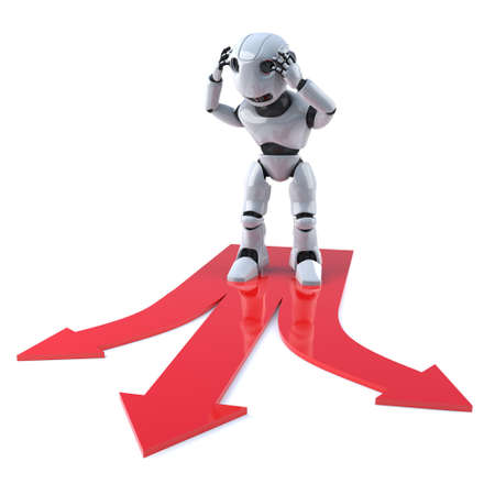 different directions: 3d render of a robot looking at arrows marking three different directions to travel in.