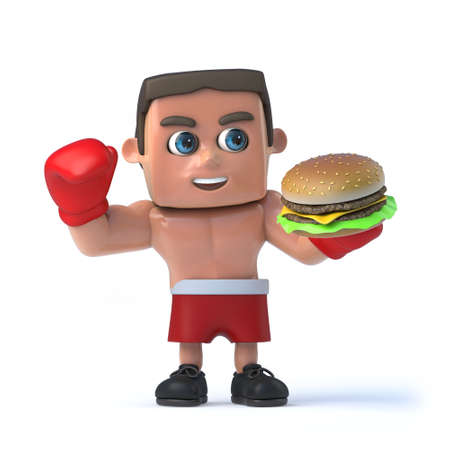 fighting: 3d render of a boxer holding a beef burger. Stock Photo