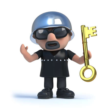leather coat: 3d render of a biker holding a gold key. Stock Photo