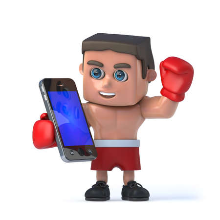 techology: 3d render of a boxer holding a smartphone tablet device. Stock Photo