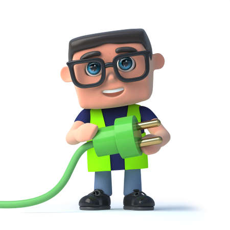 safety officer: 3d render of a health and safety officer holding a green power lead and plug.